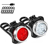 SOKLIT USB Rechargeable Bike Light Front and Rear Waterproof IPX4 Super Bright Bicycle LED Light Set 120 Lumen with 650mah Lithium Battery, 4 Light Mode Options, Including 6 Strap and 2 USB Cables