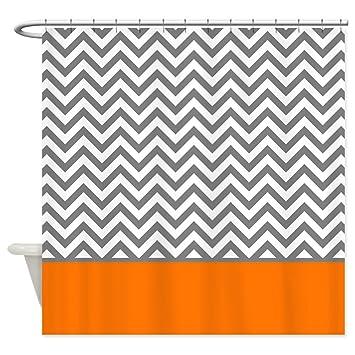 CafePress Gray Chevron Pattern Orange Stripe Shower Curtain Decorative  Fabric Shower CurtainAmazon Com CafePress Gray Chevron Pattern Orange  Stripe Shower  Orange Shower Curtain