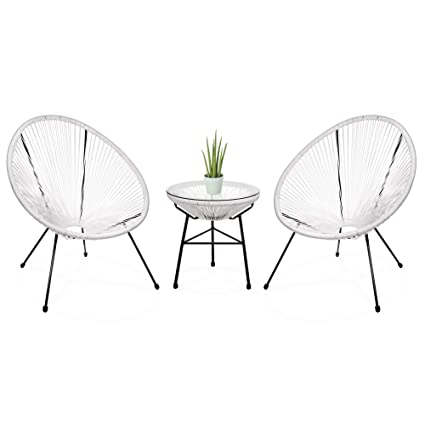 Excellent Best Choice Products 3 Piece Outdoor Acapulco Woven Rope Patio Conversation Bistro Set W Glass Top Table And 2 Chairs White Inzonedesignstudio Interior Chair Design Inzonedesignstudiocom