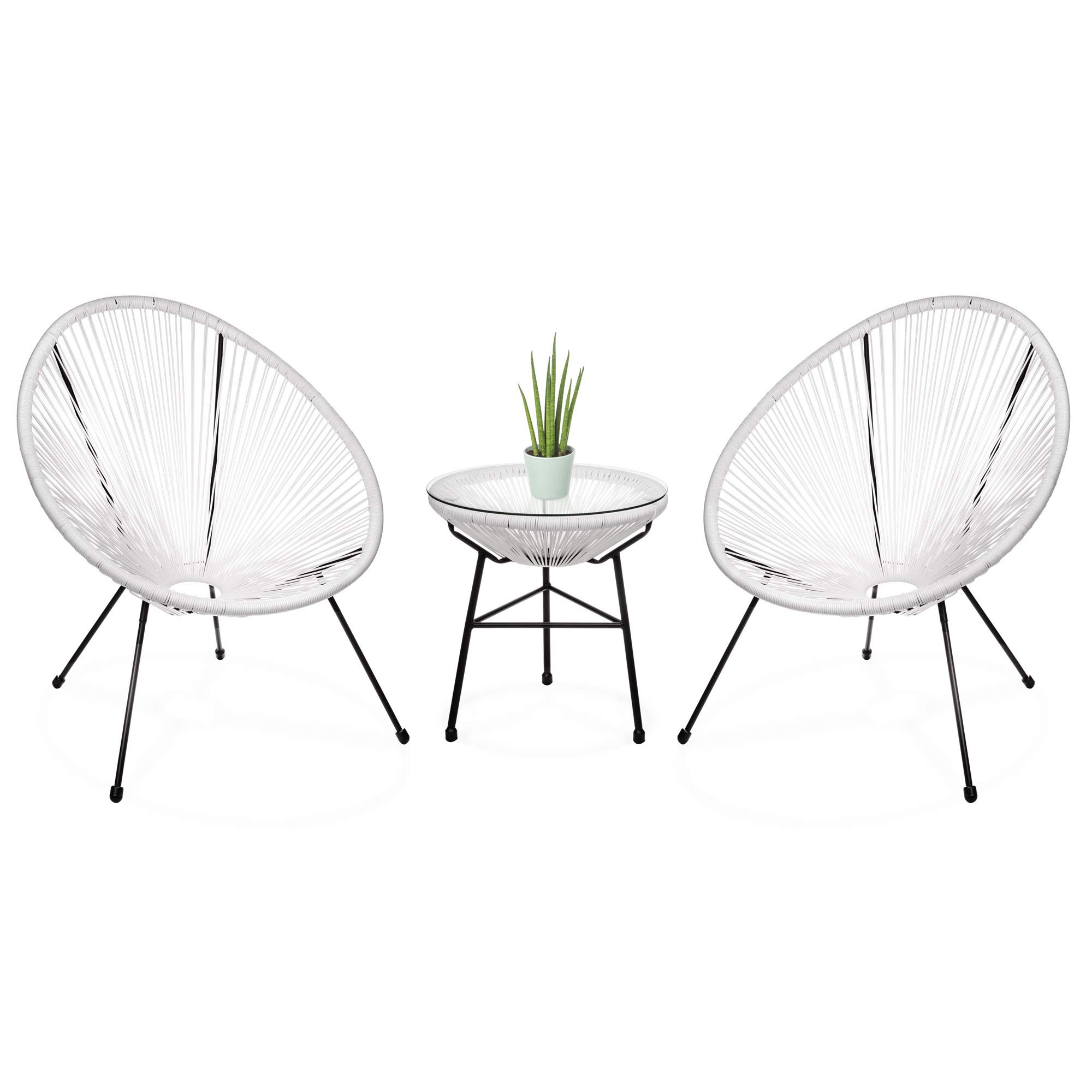 Best Choice Products 3-Piece Patio Woven Rope Acapulco Conversation Bistro Furniture Set w/Glass Top Table - White
