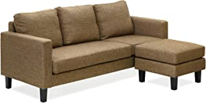 Furinno Simply Home Chaise Sectional Sofa with Ottoman, Brown