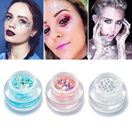 Various Color Body Glitter - Holographic Chunky Glitter with Natural Aloe Gel Makeup Bling Paillette for Face Body Hair and Nails Party Beauty Comestic Decoration Festival Rave Accessories (3 Pack)