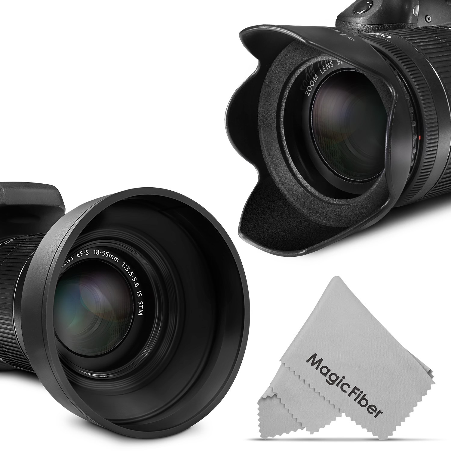 waka 52mm Lens Hood Set Center Pinch Lens Cap with Cap Keeper Leash Microfiber Cleaning Cloth 3 Stages Collapsible Rubber Lens Hood Reversible Tulip Flower
