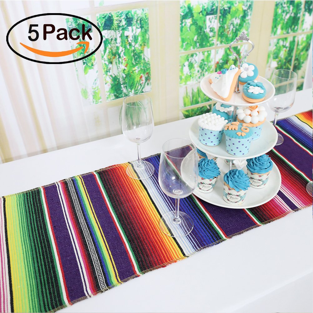TRLYC 14 x 84inch Mexican Table Runner Mexican Party Table Cover Fiesta Colorful Cotton Serape Table Runner