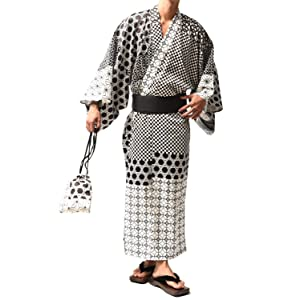 サムディフ(SOMEDIFF) 浴衣 メンズ 帯 下駄 巾着 4点セット ワンタッチ 男性 腰ひも L A柄(和柄パッチワーク)