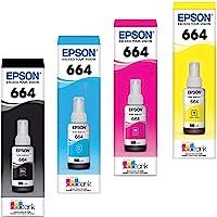 Epson 4 Pack Botella Tinta T664 L120 L210 L220 L300 L350 L355 L365 L375 L395 L475 L555 L565 - Línea EcoTank, Rendimiento de 4000 páginas Aprox