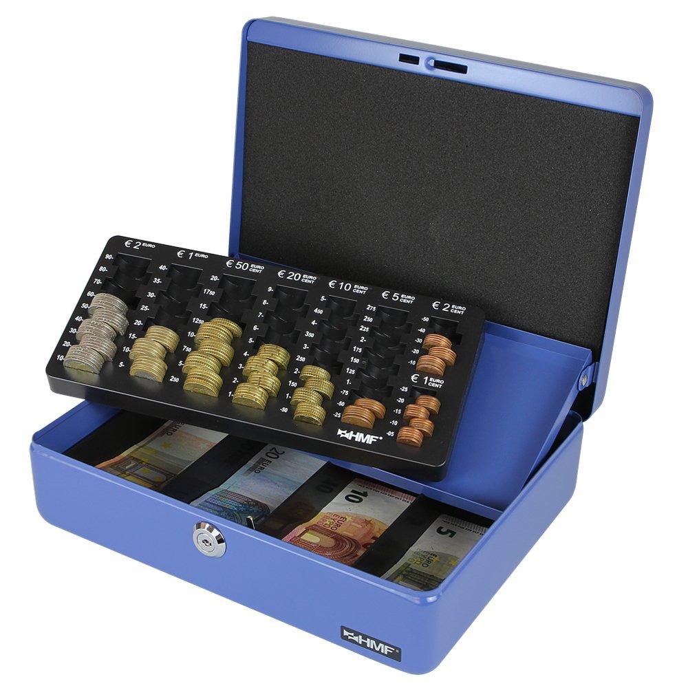 HMF 100155 Caja de caudales, bandeja para contar monedas 30,0 x 24,0 x 9,0 cm azul: Amazon.es: Bricolaje y herramientas