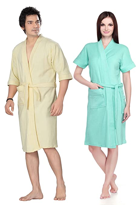 Sand Dune - Combo of 2 Dark Green   Off White Color Unisex Bathrobe - Pack  of 2 Mens   Womens 100% Terry Cotton Bathrobe Gown - 3 4   Full Sleeve Knee  ... eea11b63a