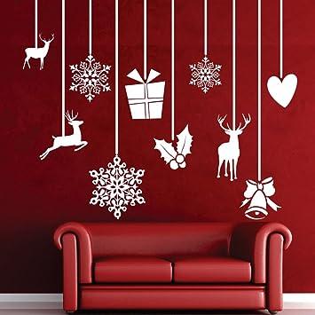 Bon Xmas Hanging Decoration Wall Decal Vinyl Christmas Wall Sticker Holiday Wall  Mural Wall Graphic Home Art