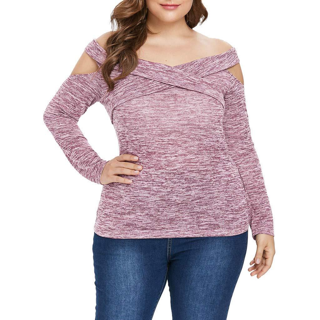 Amazon.com: AOJIAN Blouse Women Long Sleeve T Shirt Strapless Criss Cross Plus Size Tops: Clothing