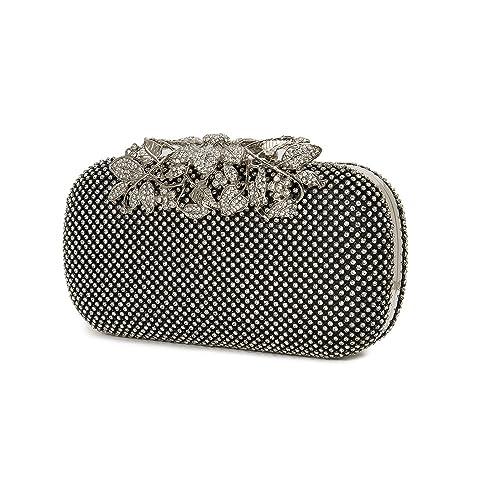 7b66911aebd86 Black evening handbags Clutch Womens Evening Clutch Bags Flower Crystal  diamante Rhinestones queen bag