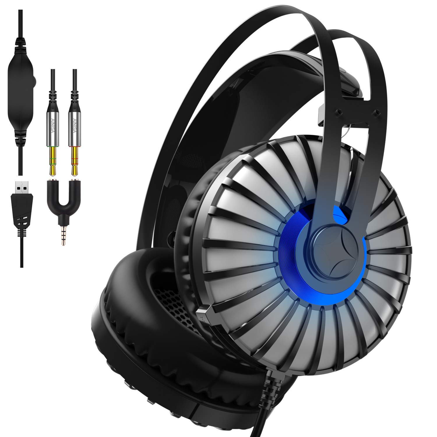 Gaming Headset compatible PS4, Xbox One, Nintendo Switch, PC, etc. Stereo Surround Sound Over-Ear Wired Gaming Headset with LED light, Noise-Canceling Microphone by AINISA