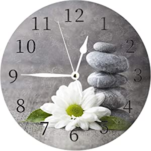 ATEDEANEI Silent Decorative Wall Clock Stone Flower Wooden 10 Inch Wall Decor Arabic Numerals for Bedroom Living Room Kitchen Frameless