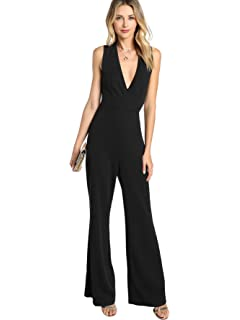 50bd0f975866 MAKEMECHIC Women s Sexy Deep V Neck Sleeveless Wide Leg Loose Jumpsuits  Rompers
