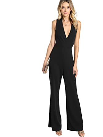 0f55237618cd MAKEMECHIC Women s Sexy Deep V Neck Sleeveless Wide Leg Loose Jumpsuits  Rompers 1-Black XS