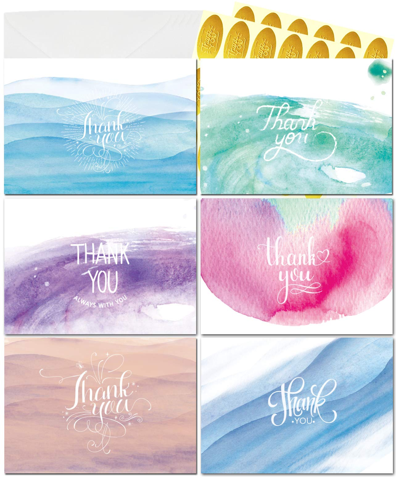 Qz Thank You Cards - 36 Watercolor Thank You Notes, Bulk Boxed Set - Blank on the Inside - Beautiful Cute Designs - Envelopes and Golden Sticker Included, 4 x 6 Inches Size - Perfect for Any Occasions