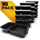 Fitpacker DUO USA Quality Meal Prep Containers 16-Pack 2 Compartment Bento Lunch Boxes with Lids - Portion Control & Food Storage Containers
