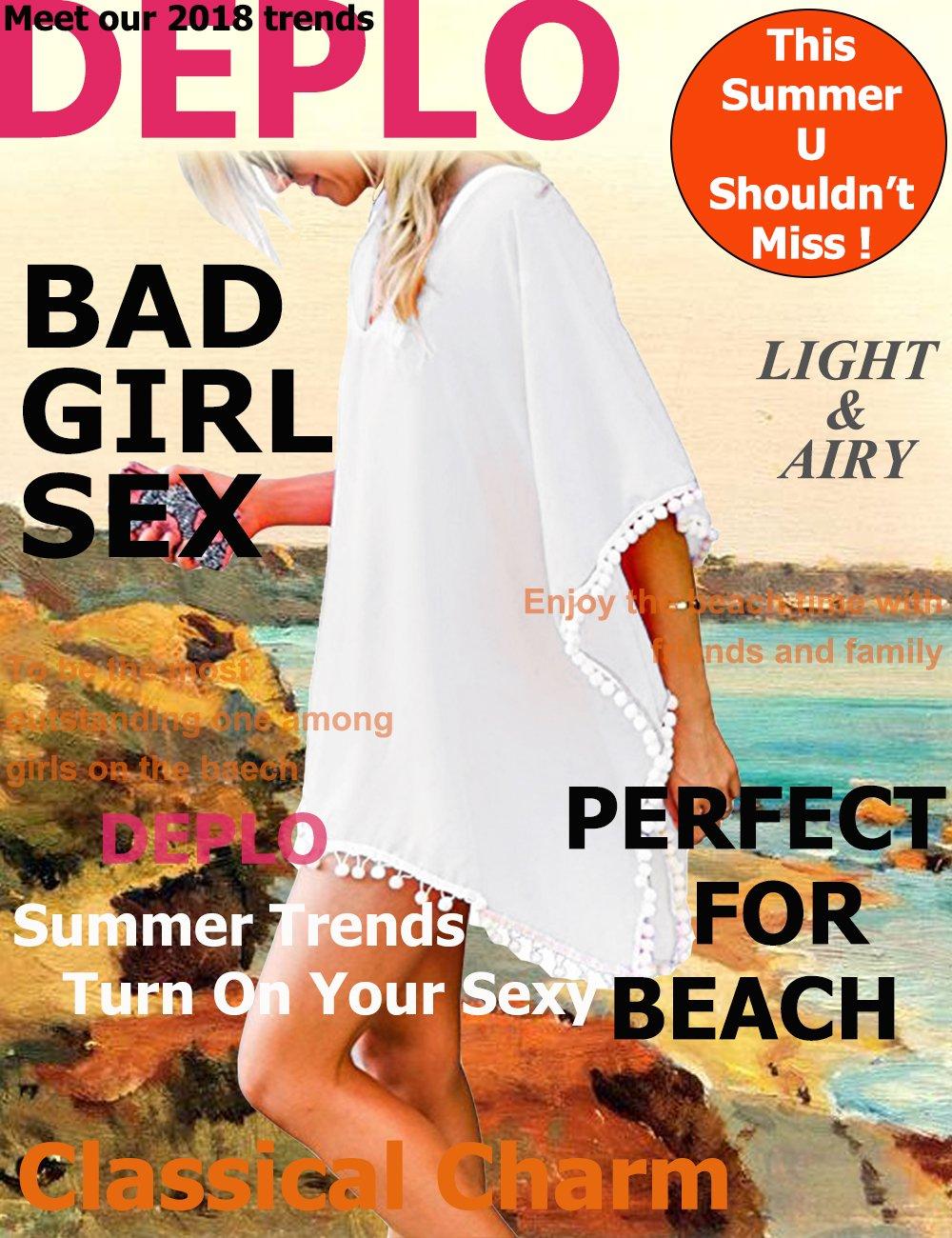 Women's Pom Pom Trim Kaftan Chiffon Swimwear Beach Cover up Bathing Suit Swimwear Bikini Swimsuit Beachwear Dress Shirt by DEPLO (Image #2)