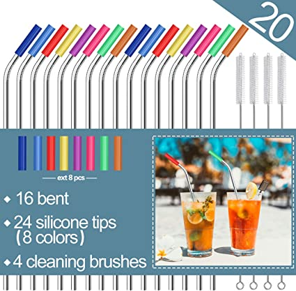 16 bent Stainless Steel Straws,Set of 16 10.5 FDA-Approved Reusable Drinking Straws for 30oz/&20oz Tumblers Cups Mugs,Metal Straws with 24 Soft Food-Grade Silicone Tips,4 Cleaning Brushes