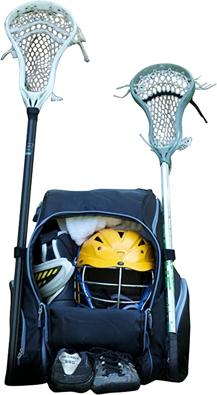 Throwback Gametime Pack XL - Large Lacrosse Backpack & Field Hockey Bag with Cooler - Perfect for Multi-Sport Athletes - Includes Racquet Holder for ...