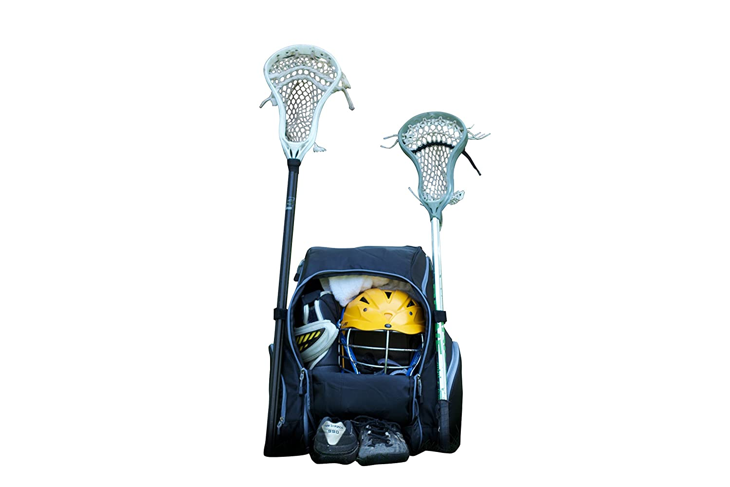 Throwback Gametime Pack XL - Large Lacrosse Backpack & Field Hockey Bag with Cooler - Perfect for Multi-Sport Athletes - Includes Racquet Holder for Tennis, ...