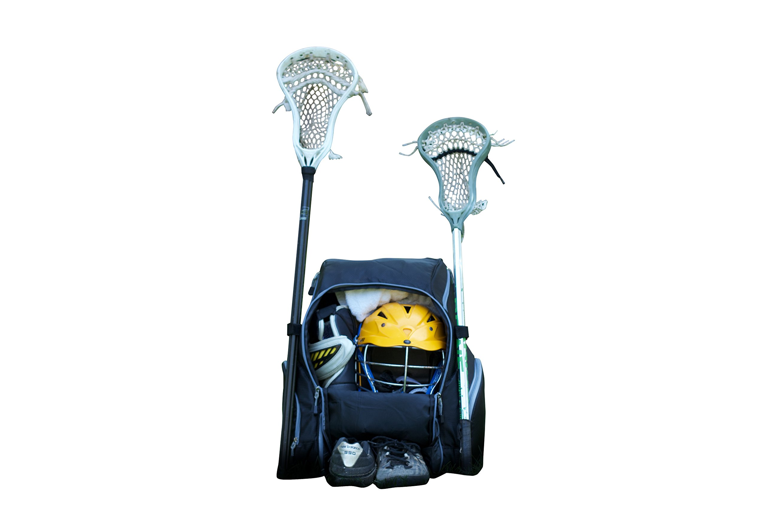 Throwback Gametime Pack XL - Large Lacrosse Backpack & Field Hockey Bag With Cooler - Perfect For Multi-Sport Athletes - Includes Racquet Holder For Tennis, Racquetball + Separate Shoe Compartment