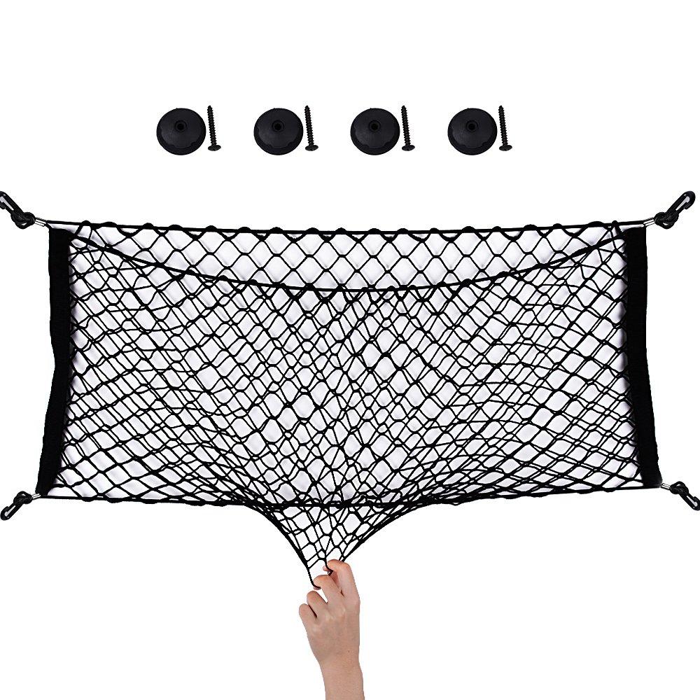 90*40cm Filet Rangement Coffre Voiture avec Crochets + 4 Pièces de Fixation + 4 Clous Grande Capacité Sac de Filet Elastique Solide Organisateur Siège Arrière Accessoire Voiture Universel good