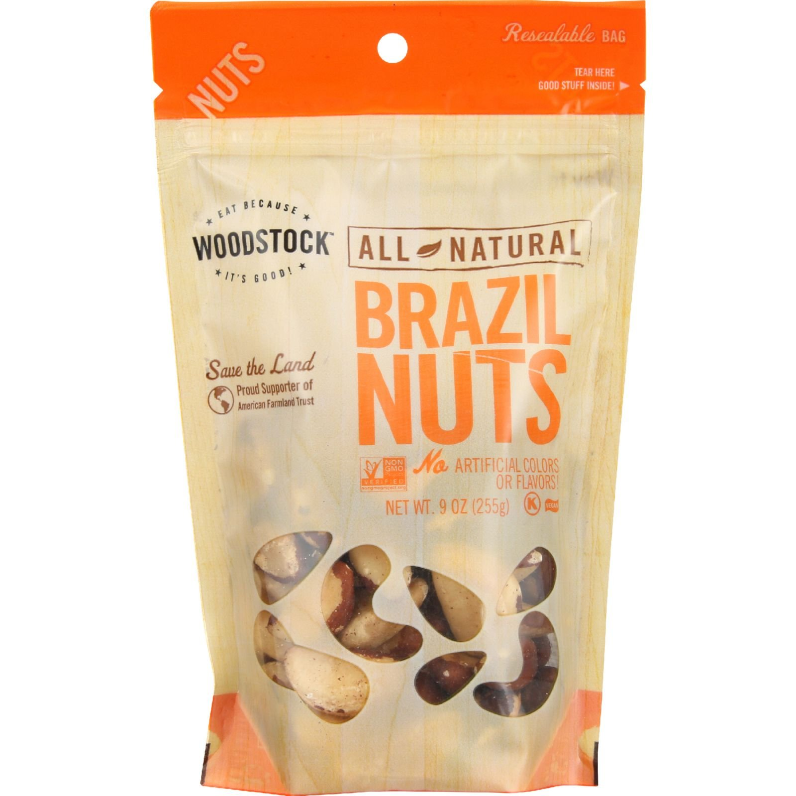 Woodstock - All Natural - Brazil Nuts - Medium - Fancy - Raw - 9 oz - case of 8 - Vegan - Non GMO