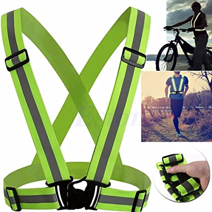 New Unisex Outdoor Cycling Safety Vest Bike Ribbon Bicycle Light Reflecing Elastic Harness For Night Riding Running Jogging Cycling