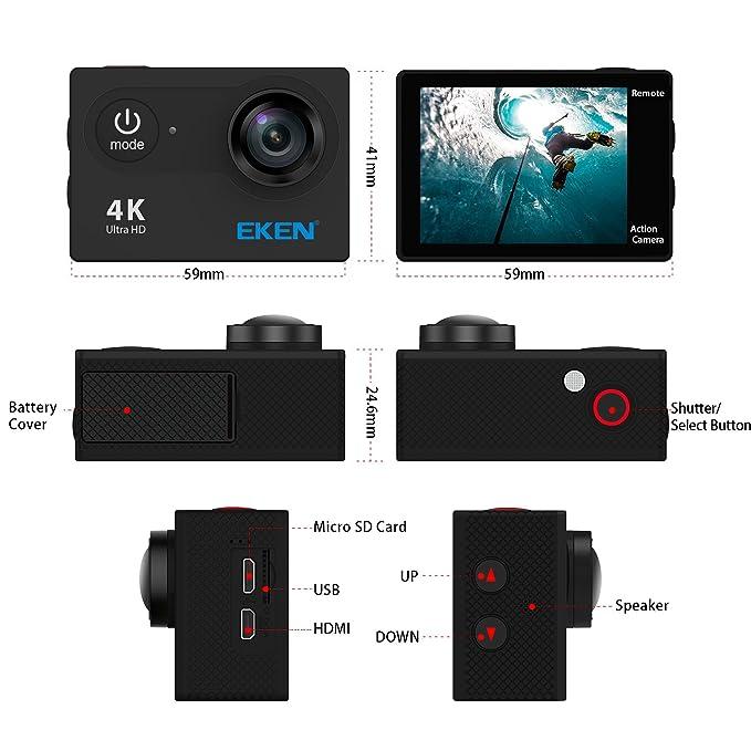Cámara de Acción EKEN H9 4K, Cámara Deportiva a Prueba de Agua Full HD Wifi con Video 4K / 2.7K / 1080P60/ 720P120fps, Foto 12MP y Lente de Gran ...