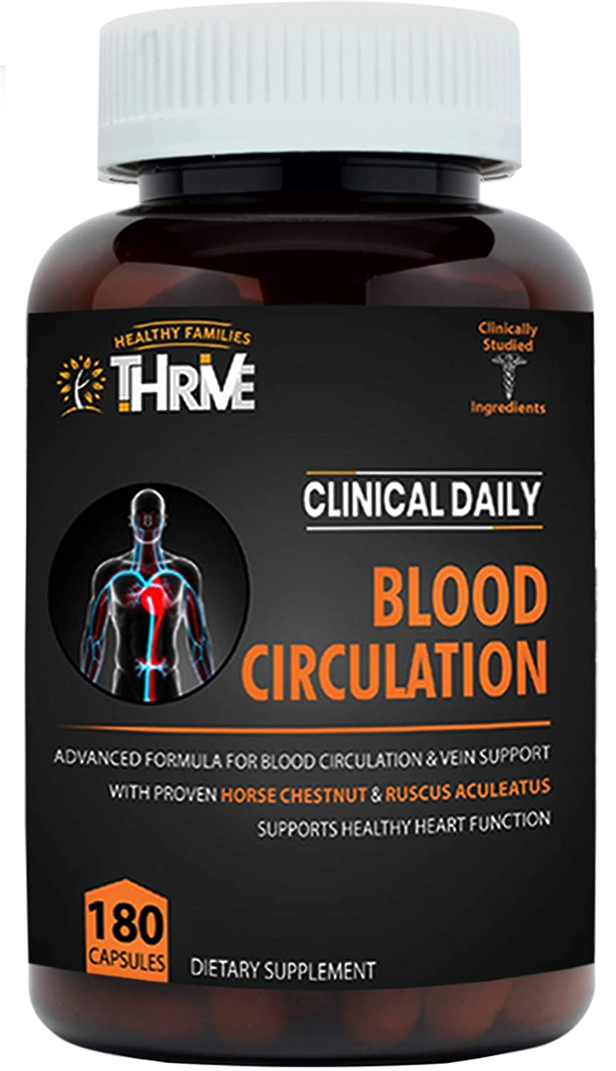 CLINICAL DAILY Blood Circulation Supplement. Butchers Broom, Horse Chestnut, Cayenne, Arginine, Diosmin. Herbal Varicose Vein Treatment. Poor Circulation and Vein Support for Healthy Legs 180 Capsules