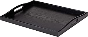 Wild Solutions Black Serving Tray Large Wood Rectangle Decorative Ottoman Food Butler Tray with Cutout Handles  - 17.7 in x 13.8 in x 1.8 in