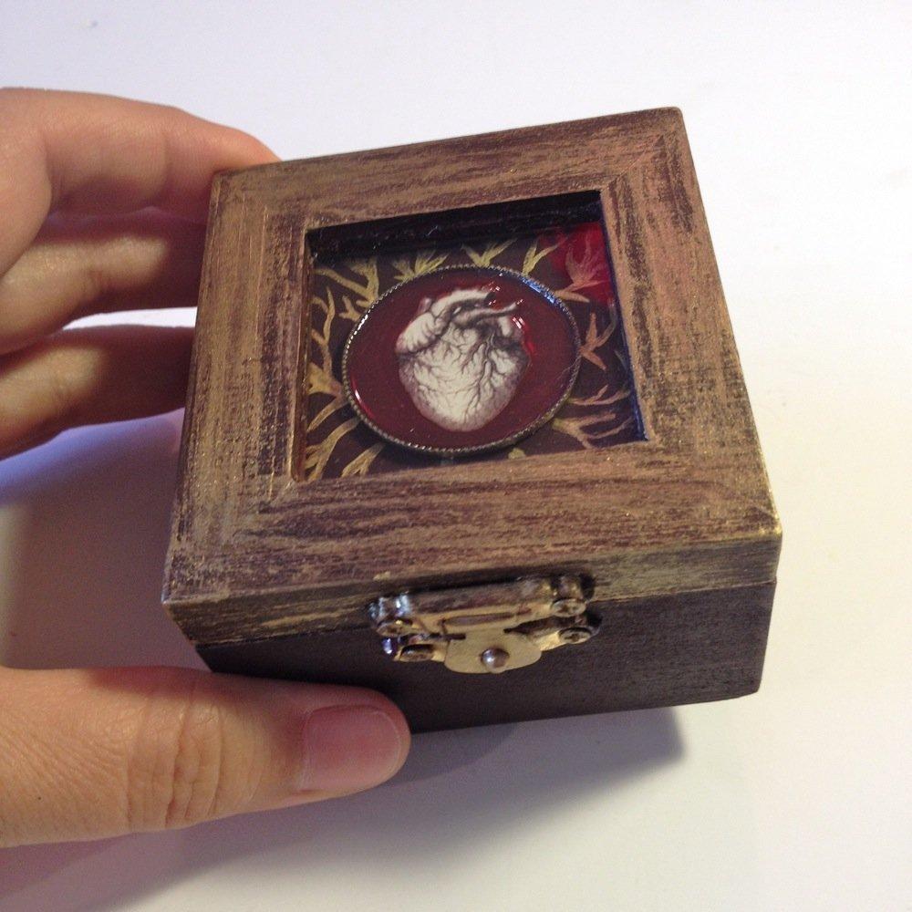 Anatomical Heart Tiny Wooden Jewel Box - Burgundy and Gold - Heart Box - Ring Box