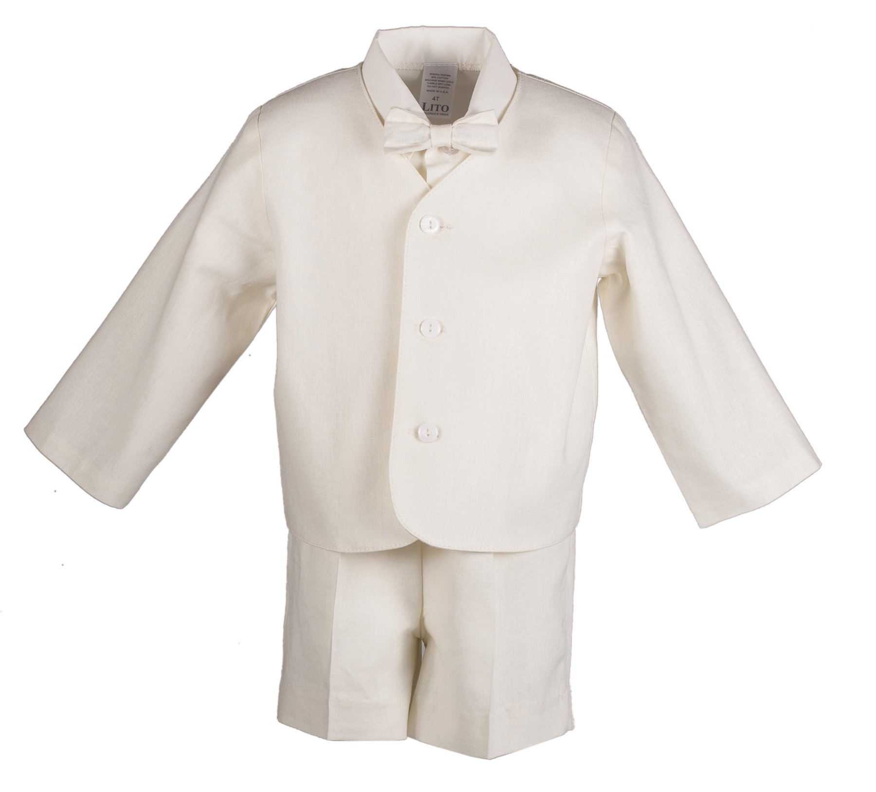Boys Ivory Linen Eton Short Set for Baby and Toddlers (4 Toddler)
