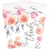 BIOBROWN Bubble Mailers Flower Print Thank You Design for Shipping-6x9inch-25pcs,Orange