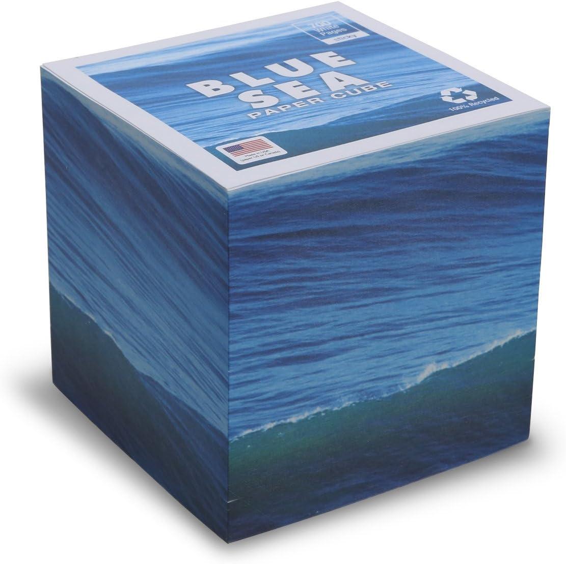 """(スティッキー)ブルー海NOTEキューブwith 700ホワイトtear-off Not Looseページ、Made in USA (用紙米国またはカナダ) 100 %リサイクル24横目、3.5 """" X 3.5 """" X 3.5 """""""