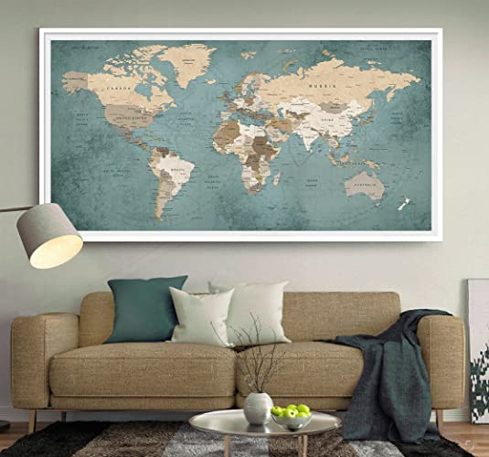Amazon world travel map world map push pin world map wall art world travel map world map push pin world map wall art large world gumiabroncs Gallery