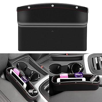 AOZBZ Leather Car Seat Crevice Storage Box Auto Gap Pocket Catcher Organizer Console Space