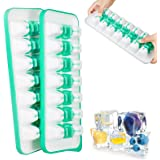 MEXERRIS Ice Cube Trays Large Quick Pop With Lid 2 Pack Silicone Ice Tray For Freezer Storage, Cocktail, Beverages And Baby F