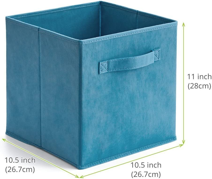 EZOWare Collapsible Storage Cube for Nursery Home and Office Blue Set of 6 Foldable Fabric Basket Bin