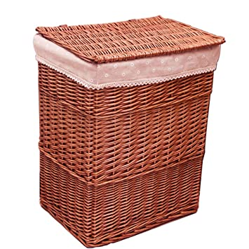 MYJ Furniture Cestas de Almacenamiento de Mimbre, cestas de lavandería Cajas de Almacenamiento de Ropa con Tapa para Dormitorio/Aseo: Amazon.es: Hogar