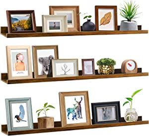 Giftgarden 47 Inch Long Floating Shelves for Wall, Rustic Picture Ledge Large Shelf for Living Room Bedroom Bathroom Kitchen, Set of 3 Different Sizes