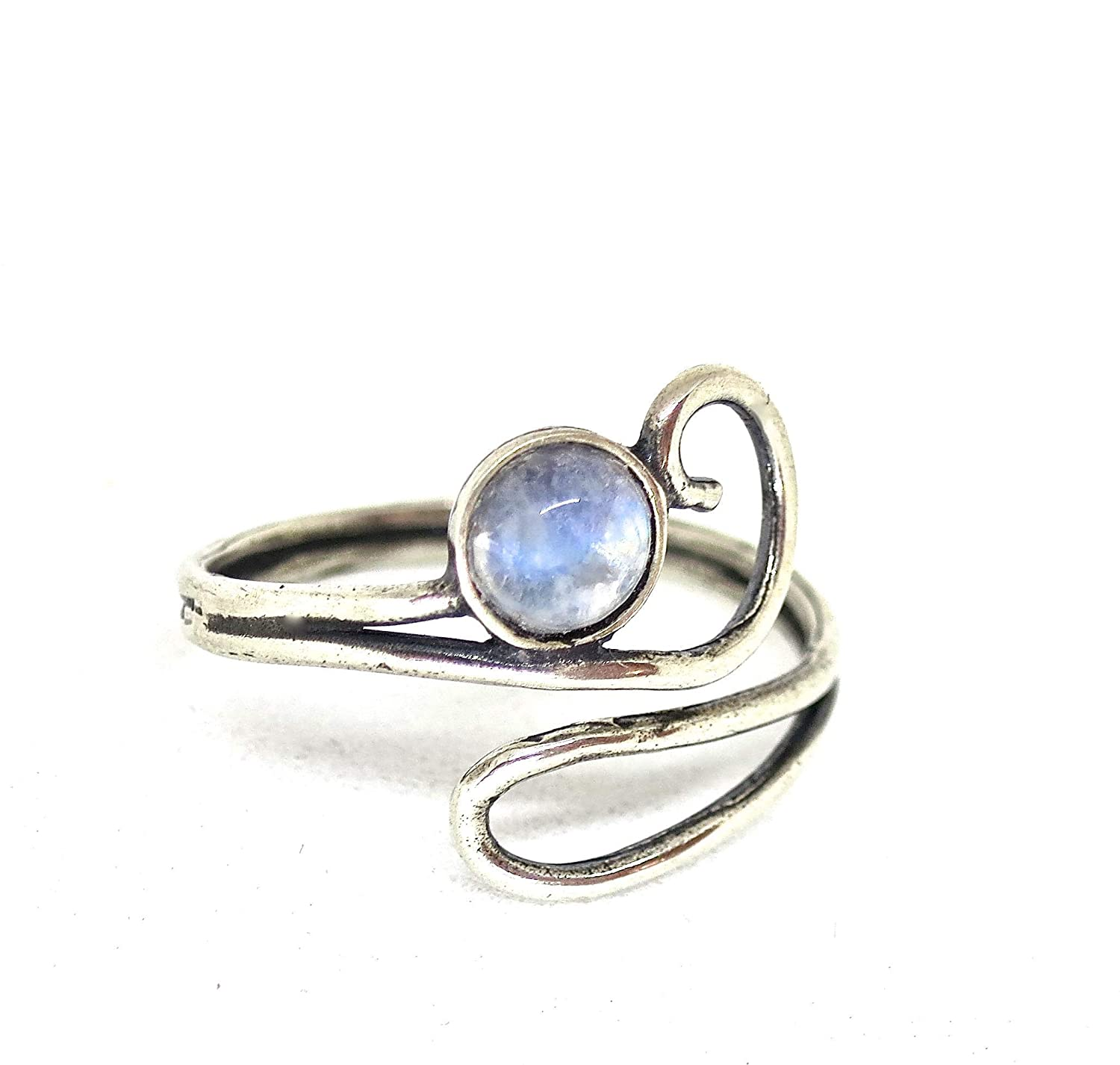 Elastic Ring Silver Beaded Ring Silver Stretch Ring Stackable silver rings Unique Gift for Her Silver Adjustable Ring Moonstone Ring