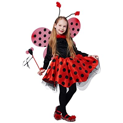 IKALI Girls Ladybug Costume, Deluxe Animal Fancy Dress Outfit with Wings (10pcs Set) 3-4T: Clothing