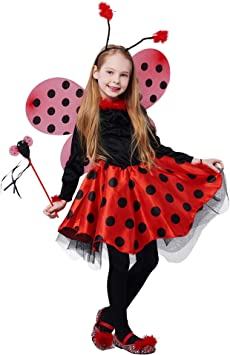 IKALI Disfraz de Mariquita para niña, Vestido Traje de Animal con ...