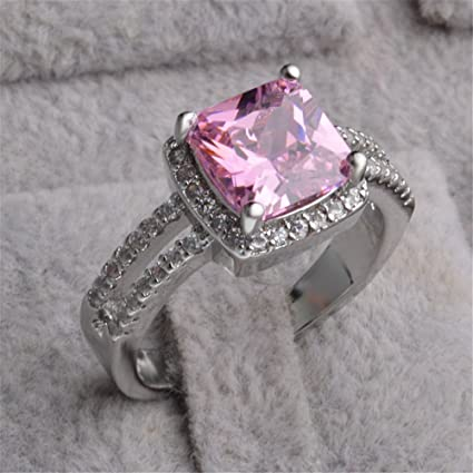 Skyllc Los mejores anillos de la promesa de princesa Cut plateado cristal de la CZ anillos