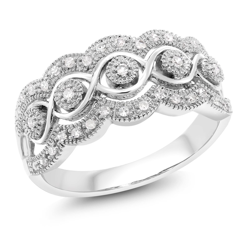 14K White Gold 0.16 Cttw White Diamond Intricately Interlaced Cocktail Ring Wedding Anniversary Band (Available in size 5, 6, 7, 8, 9)