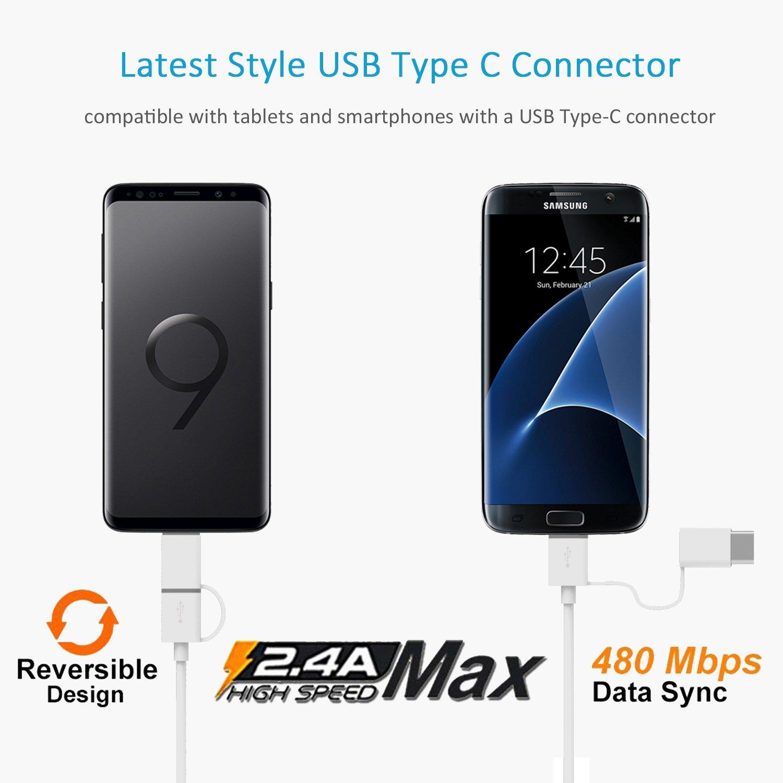 Nexus con 2 en 1 Cable Cargador Micro USB y Tipo C para Samsung iVoler Dual Quick Charge 3.0 36W 2 Puertos USB Cargador de Coche Xiaomi Tableta y m/ás 2*QC 3.0 Puerto HTC Sony Negro
