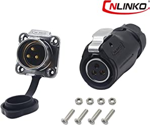 CERRXIAN CNLINKO Power Socket Rotation Lock Outdoor Waterproof Aviation Soldering Connector for AC DC Signal LED Lighting Equipments 3pin,DH-20
