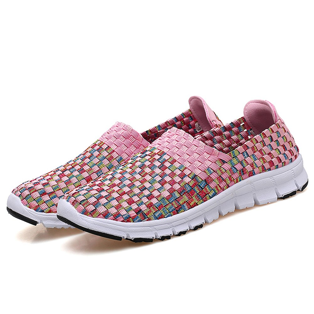 YMY Women's Woven Sneakers Casual Lightweight Sneakers - Breathable Running Shoes B07DXLF3FP EU37/6.5 B(M) US Women|Pink2